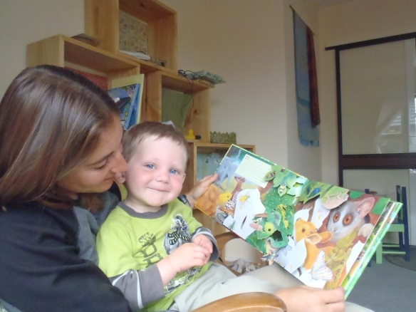 I picked a Maurice Pledger book to read this morning with Mama. It's one of my favorites because when I turn a page I hear animal noises and parts of the pages pop up. We count frogs and beetles, snakes and monkeys. And this morning we got to combine photography with book reading, two of my (many) passions in life.