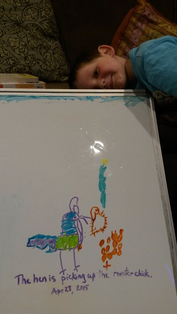 """This is a mommy rooster and her eggs. She's picking up the baby rooster. The X is the egg that already hatched."" We've moved into the realm of story-drawings, and Mom is enjoying it."
