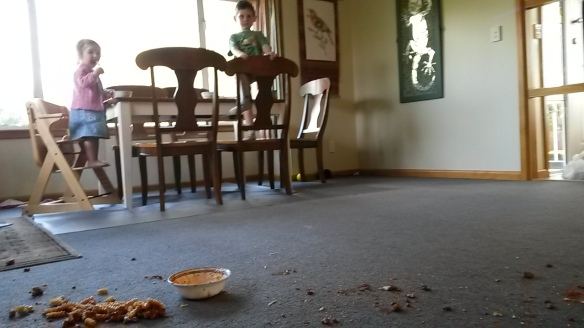 "Gaaaasssppp. ""Milo!"" That was a full mommy-sized bowl of noodles and sauce that is splattered from one end of the room to the other. On carpet. Why anyone ever carpets a DINING ROOM I'll never comprehend. Milo had been in a very helpful mode this evening, even offering to carry Mom's food to the table. Half way there he decided it was too hot, and dropped it. He continued in his chipper mood after a cursory apology. ""There's another splatter over there,"" he points. ""You're nearly half way done cleaning up, Mom."" Thanks buddy."