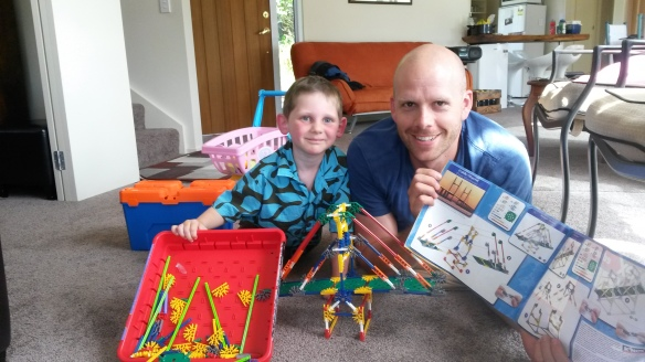 Who is prouder of the bridge creation, Milo or Mark?  We enjoyed Christmas dinner with our friends Mark, Steph and Irmana.  We are holidaying (is that really a verb?) with this crew for the coming week, but we were all in Christchurch for Christmas day, and Steph proposed a joint meal.  Good thing she did!  With my level of Christmas cheer I would probably have had the family eating scrambled eggs and going to bed early.