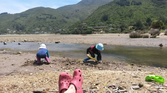 One afternoon the wind was whipping cruelly but the sun was shining, and I took the kids down to the beach in their wet suits to dig in the muck. Kids love muck. I sat in the lee of a rock and read a book. There's something to be said for being finished with the toddler stage.