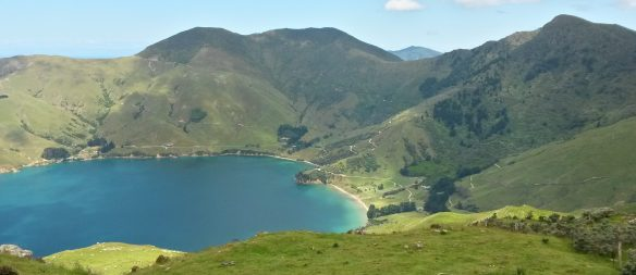 Titorangi Bay is at the end of one of the Marlborough Sounds, at the end of a two hour tortuous twisting road. There is a sandy beach and a farm that lets you camp in a paddock, and a bay with fish.